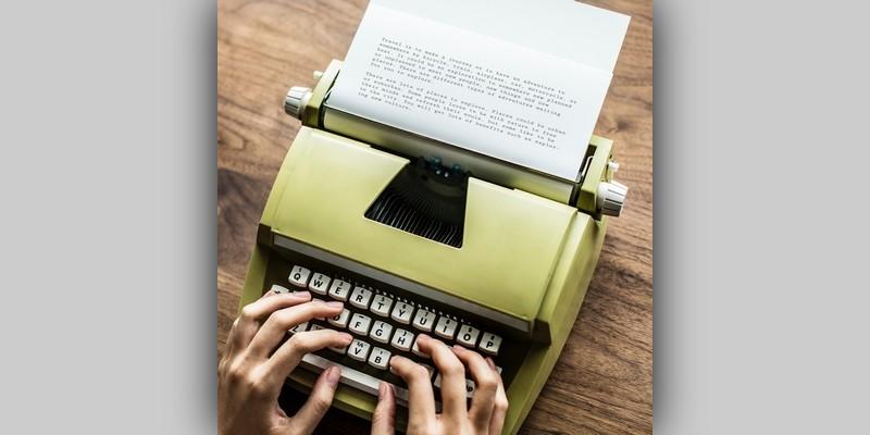 Maszyna dopisania wzielonym kolorze