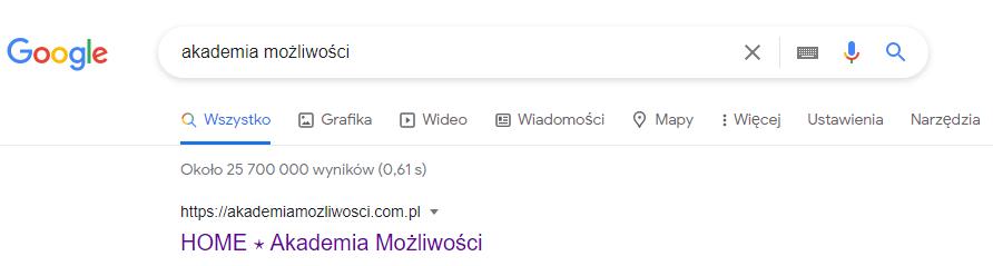 Akademia Możliwości - SEO - pozycjonowanie - pierwszy wynik wGoogle
